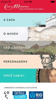 App's Menu, Museu Casa da Marquesa de Santos, a house museum in Rio de Janeiro.
