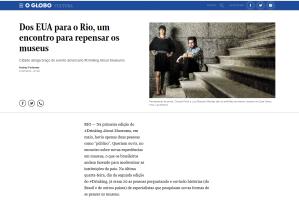 Foto de Claudia Porto e Luis Marcelo Mendes no jornal O Globo, primeiro Drinking about Museums no Brasil